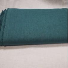 Mīkstināts vienkrāsains lina audums - zilgānzaļš