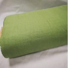 Mīkstināts vienkrāsains lina audums zaļš