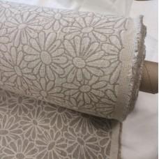 Dekoratīvais audums ar rakstu margrietiņas mazgāts 150 cm plats